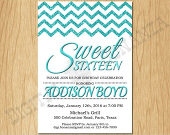 Sweet 16th Birthday Invitation Sixteen White Turquoise Glitter Birthday Party Invite Teen Surprise Birthday Printable  F16-001ti