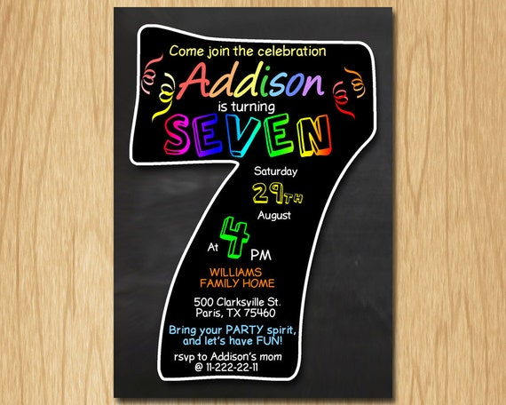 7th birthday invitation chalkboard invite rainbow colors seventh il570xn stopboris Gallery