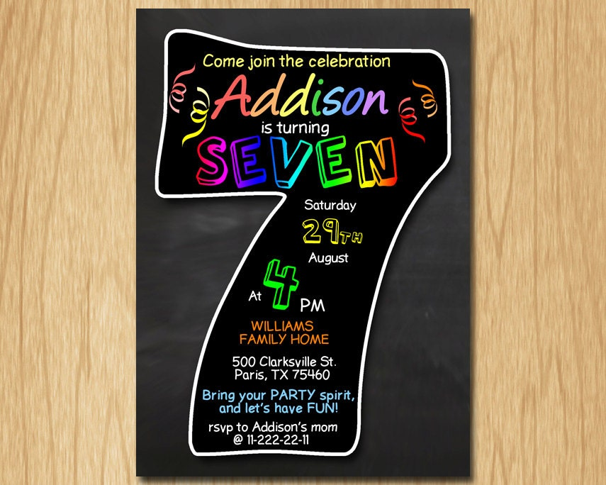 7th birthday invitation chalkboard invite rainbow colors