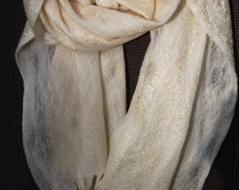 Felted scarf, Cobweb Felted Scarf, merino wool, silk fibres,  light weight, perfect gift, accessory for special events
