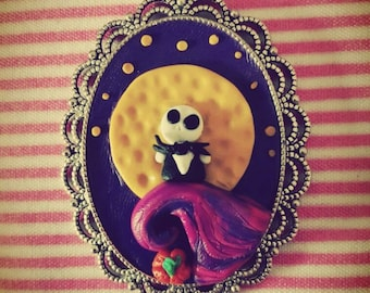 Pendant or cameo of nightmare before Christmas Jack Skellington in fimo Cameo Nightmare before Christmas polymer clay