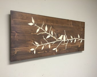 Branch Wall Art, CARVED sign, Love Birds and Branch with leaves, Wedding Gift, Anniversary idea, Birthday, wooden, hanging sign, Home Decor