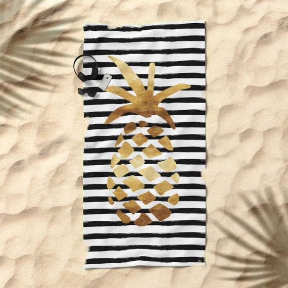Beach Towel Bundle: Oversized Beach Towel Pineapple And Stripes Gold Black And
