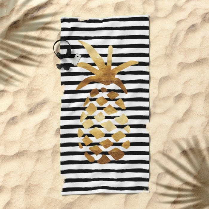 Oversized Beach Towel - Pineapple and Stripes - Gold Black and White - Bundle with a Tote!