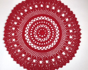 Crocheted Red Doilie (#03-10-3)