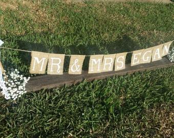 Mr & Mrs Custom Painted Bridal Bunting Sign