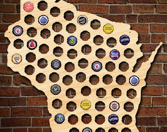 Wisconsin Beer Cap Map - Can be Personalized! - Made of Beautiful Birch Wood! - WI Beer Cap Holder, Craft Beer Gifts for Men, Packers Fans