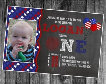 Red White and Blue First Birthday Photo Printable Digital Invitation July Fourth Party, Independence Day Picture Invite, 1st, 4th, patriotic