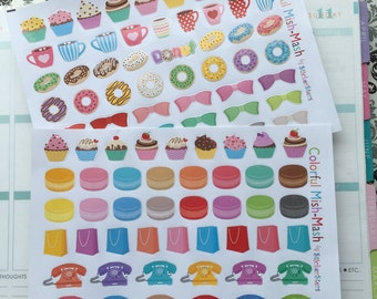 Colorful Mish-Mash Planner Layout Stickers