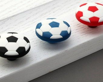 Kids Football Dresser Knobs Drawer Knobs Pulls Handles Kid Cabinet Door Knob / Soccer Knob Handle Pull Cartoon Children Red Blue Black White