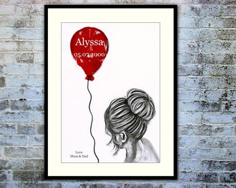 Personalised Girl with Red Balloon Print 'Tidy Bun'. Modern print. Charcoal Drawing. Framed.