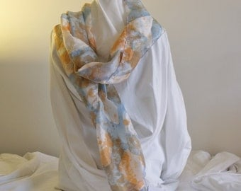Silk habotai scarf hand painted in soft blue and peach