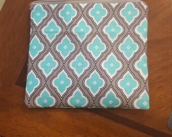 Aqua and Grey zipper pouch