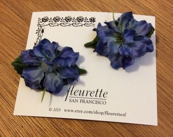 MIDNIGHT BLUE Set of 2 Lovely and Silky Floral Delphinium Bloom Flowers Hairclip... Wedding... Bridal... Bridesmaids... VLV... Hair Clips