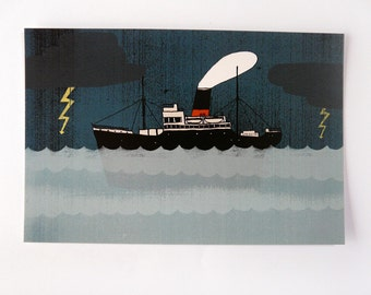 Postcard | BOAT ship storm | digital printing | quentinriviere