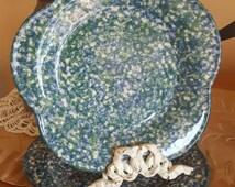 2 Roseville Green & Blue Spongeware The Workshops of Gerald E Henn Petal Plates, Artists Signed, Ocean Decor, Beachy Coastal Cottage Decor