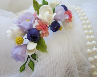 Bridal flower pins, set of 3 pins, wedding hair pins, bridal hair flowers, purple eustoma, white freesia, yellow kraspediya,cold porcelain