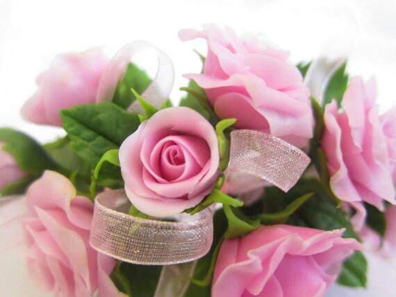 Flower Bracelet Pink Roses Bridal Flowers Wedding Rustic Cold Porcelainclay