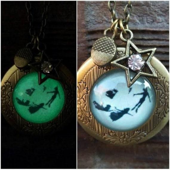 Glowing Peter Pan Locket, Glow in the Dark Bronze Locket, You Can Fly Glow in the Dark Necklace, Peter Pan Jewellery, Never Grow Up Gift