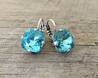 Swarovski Crystal Chushion Cut 12mm Earrings