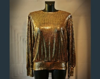 Vintage Gold Sparkly Scales Top UK Size 14 Post-apocalyptic Space Sci-fi Futuristic