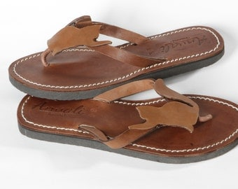 Cat Lover Flip Flops Sandals leather summer handmade shoes