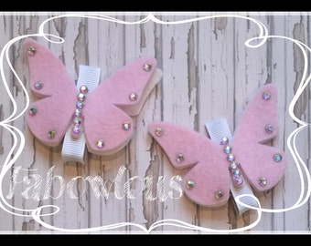 2 Pink Felt Butterfly Hair Clips