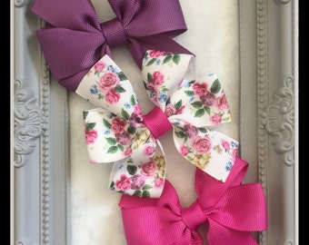 Set of 3, 3 inch Pinwheel Hair Bows. On Clips or Hairbands