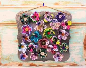 Fabric Flower Magnets