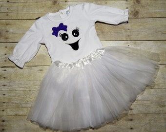 Baby girl Halloween costume, ghost costume, Girly ghost, tutu, trick or treat, ghost face, halloween party