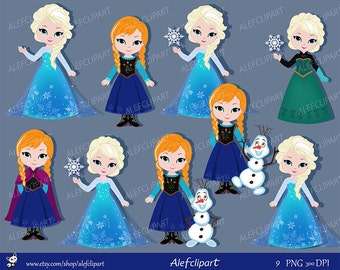 Only Elsa, Only Anna,Clipart Snow Princess  Digital Clipart,  Princess Clipart.