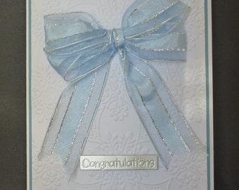 Baby Boy Ribbon Bow Card 1448