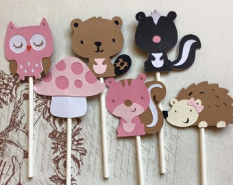 12 Detailed Woodland Friends Cupcake toppers Birthday Toppers/Girl Toppers/ Animal Toppers/ Woodland Toppers