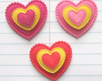 SET of 15 Red/Hot Pink/ Pink 3-Layer Felt Valentine's Heart Padded Appliques