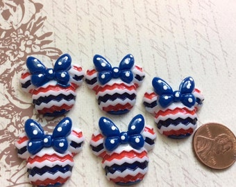 SET of 5 Minnie Mouse US  Independent Day Patriotic for 4th of July Resin Cabochon Flatbacks Flat Back Hair Bow Center Crafts DIY