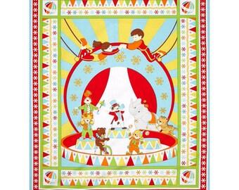 Under the Big Top Panel Circus Cotton Quilt Fabric Benartex  BFab