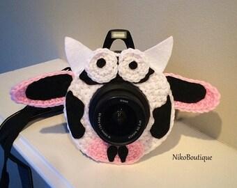 Crochet cow lens critter, camera buddies, camera lens buddy, toys, photographer helper.