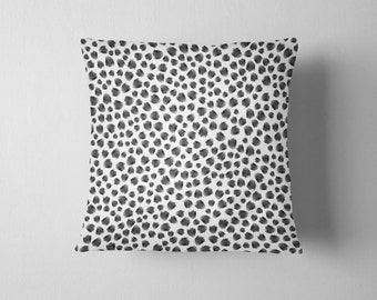 Black and white animal spots throw pillow