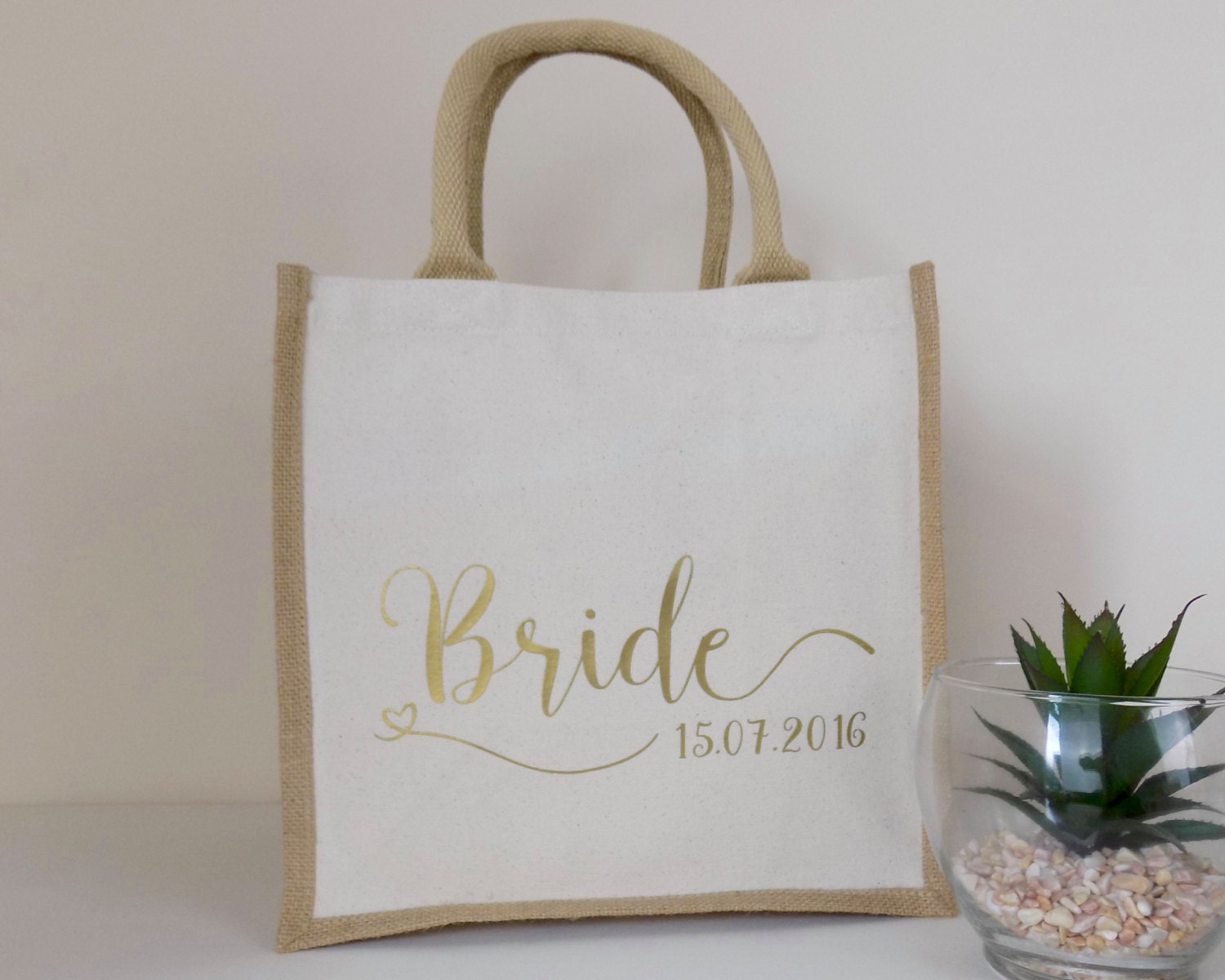 Personalised Wedding Gift Bags Uk : Bride Gift Personalised Jute Bag Ideal Wedding Gift Cotton