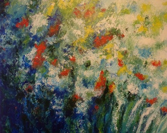 "Wild Flowers / Original Acrylic Painting on Gallery Wrapped Canvas / By Canadian Artist, Kim Jones / Impressionist Art / 30"" x 30"" x 1.5"""