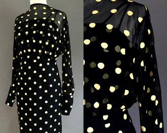 1950's Sheer Black and Yellow Polka Dot Wiggle Dress