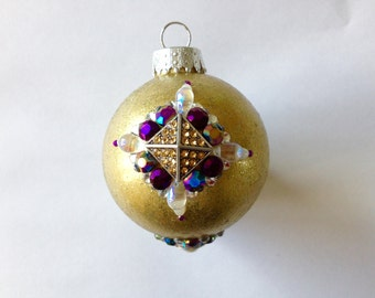 Bejeweled Gold Round Christmas Ornament