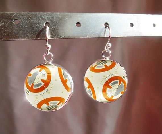 Star Wars jewelry -BB8 Earrings - BB-8 -Star Wars The Force Awakens Earrings - Star Wars Gift- Star Wars Jewelry - Gift for Star Wars Fan