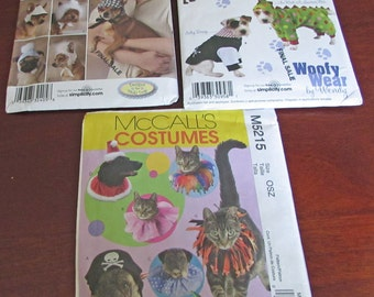 Dog Cat Sewing Pattern Simplicity 2740 Bonnets Designs For Dinky Dogs Simplicity 3667 Woofy Wear McCalls Costumes M5215 Cat Dogs Pet Hats