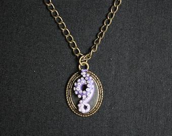 Purple Tentacle Bronze Cameo Necklace