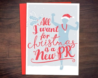 Running Christmas Card - Runners, All I Want for Christmas Fitness Holiday Card, Triathlon, Marathon