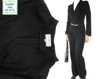 Vintage Black Wide Leg Jumpsuits | V-Neck Long Sleeve Tight Jumpsuits | breathe and let it be