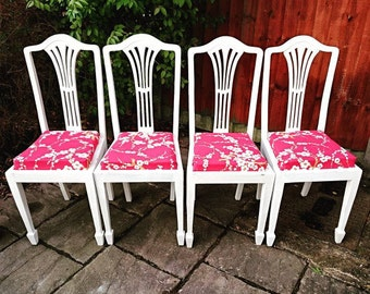Set of four vintage dining chairs, reupholstered, white chairs, red and white, blossom