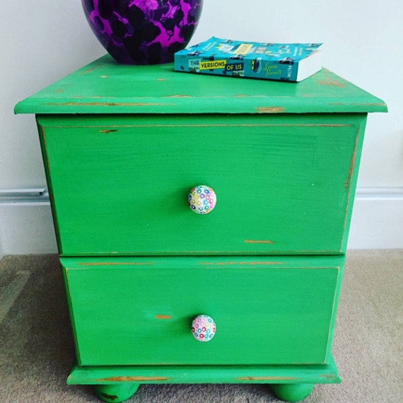 Bright Green Painted Pine Bedside Table Cabinet Nightstand Two