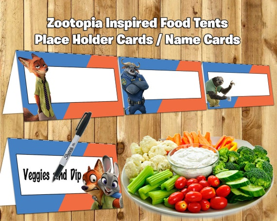 Zootopia Inspired Food Tent Cards Zootopia Food Tents instant download Zootopia Place Holder Cards Zootopia Name Cards Zootropolis Food Tent